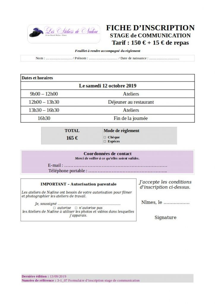 Formulaire d'inscription au stage de communication